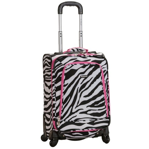 Rockland Deluxe Zebra 20-inch Expandable Carry-on Spinner Upright Suitcase