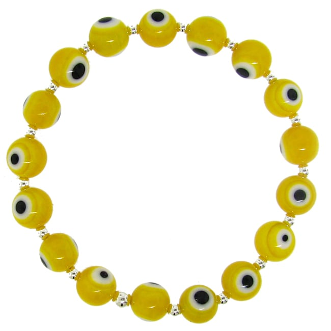 Sterling Silver Yellow Acrylic 'Evil Eye' Stretch Bracelet