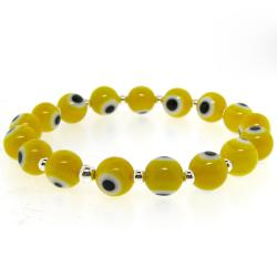 Sterling Silver Yellow Acrylic 'Evil Eye' Stretch Bracelet - Thumbnail 1