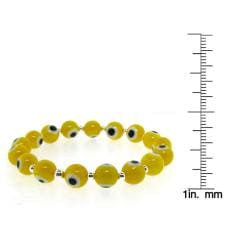 Sterling Silver Yellow Acrylic 'Evil Eye' Stretch Bracelet - Thumbnail 2