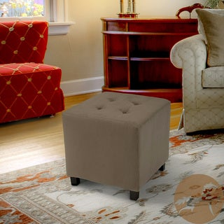 Tufted Taupe Microfiber Cube Ottoman by Christopher Knight Home