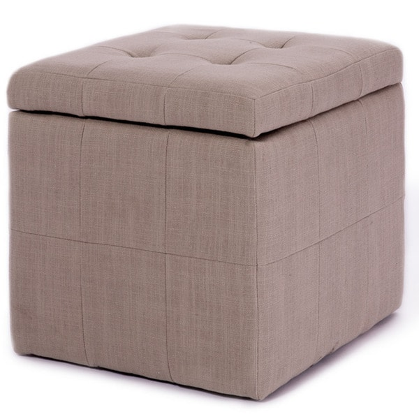 Tufted Beige Fabric Storage Cube Ottoman Free Shipping