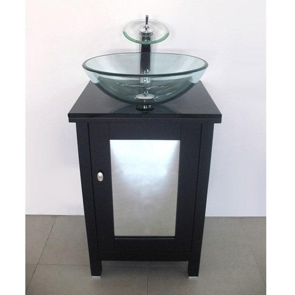 Modern Solid Wood Mirror Door Tempered Glass Sink Countertop Vanity