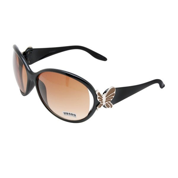 Women's Brown Butterful-embellished Fashion Sunglasses