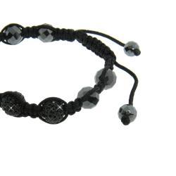 Eternally Haute  Hematite and Jet Black Crystal Macrame Bracelet - Thumbnail 1