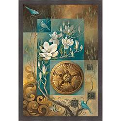 Elaine Vollherbst-Lane 'Jardin de Teal' Framed Print Art