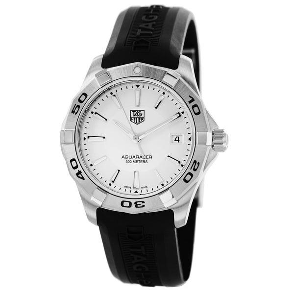 Tag Heuer Men's WAP111.FT6029 '2000 Aquaracer' Silver Dial Black Rubber Strap Watch