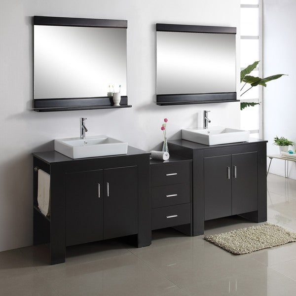 Jeffrey 90 Inch Double Sink Bathroom Vanity Set Free