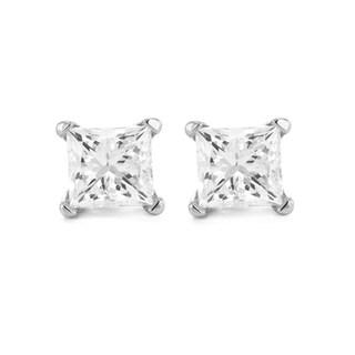 Montebello 14k Gold 3/8ct TDW Certified Princess-cut Diamond Stud Earrings (I-J, SI3)