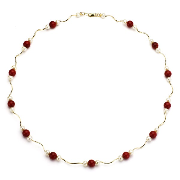 DaVonna 14k Gold White Cultured Pearl and Coral 18-inch Necklace (4-4.5 mm)