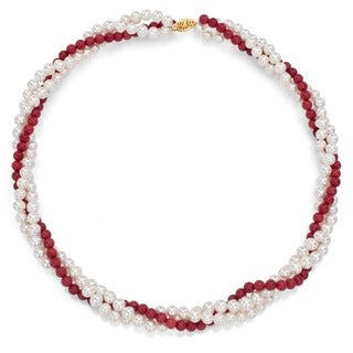 14K Gold White Cultured FW Pearl and Coral Necklace (4-5 mm/ 16 in)