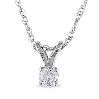 14k Gold 1/10ct TDW Diamond Solitaire Necklace