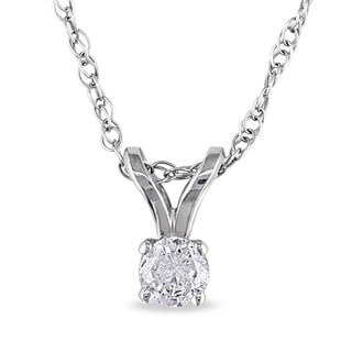 14k Gold 1/10ct TDW Diamond Solitaire Necklace (G-H, I1-I2)