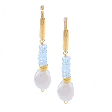 DaVonna 14k Gold Over Silver FW Pearl and Blue Topaz Earrings (10-11 mm)