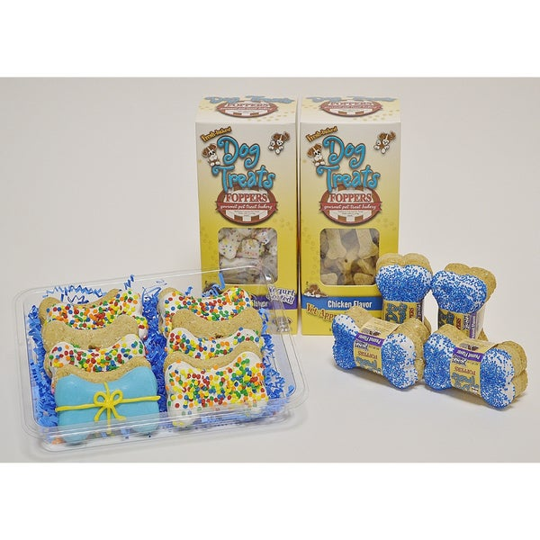 Foppers Blue Happy Birthday 178-piece Dog Treat Gift Set