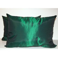 Taffeta Decorative Green Pillows (Set of 2)