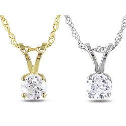 Miadora 14k White or Yellow Gold Diamond Solitaire Necklace (G-H, I1-I2)
