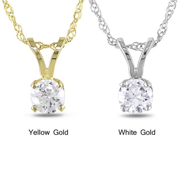 Miadora 14k Gold 1/ 10ct-1ct TDW Diamond Solitaire Necklace