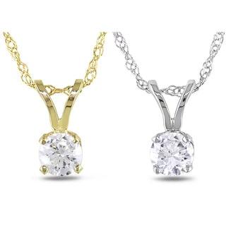 Miadora 14k Gold 1/ 10ct-1ct TDW Diamond Solitaire Necklace (G-H, I1-I2)