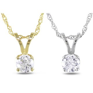 Miadora 14k Gold 1/ 10ct-1ct TDW Diamond Solitaire Necklace (G-H, I1-I2)
