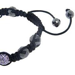 Eternally Haute Hematite and Purple Crystal Macrame Bracelet - Thumbnail 2