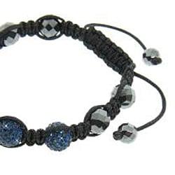 Eternally Haute  Hematite and Blue Crystal Macrame Bracelet