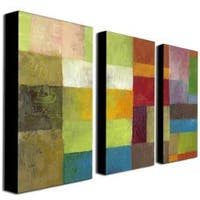 Michelle Calkins 'Abstract Color Panels IV' Canvas Art Set - Green/Red