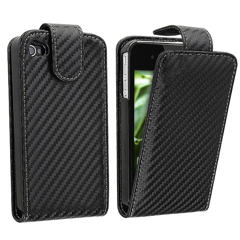 Black Carbon Fiber Leather Case for Apple iPhone 4