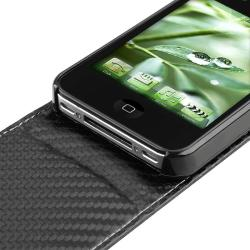 Black Carbon Fiber Leather Case for Apple iPhone 4 - Thumbnail 1