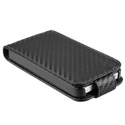 Black Carbon Fiber Leather Case for Apple iPhone 4 - Thumbnail 2