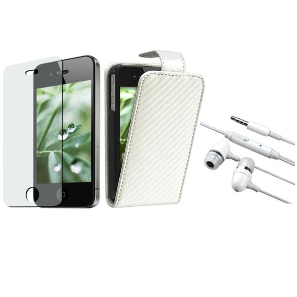 White Leather Case/ Screen Protector/ Headset for Apple iPhone 4