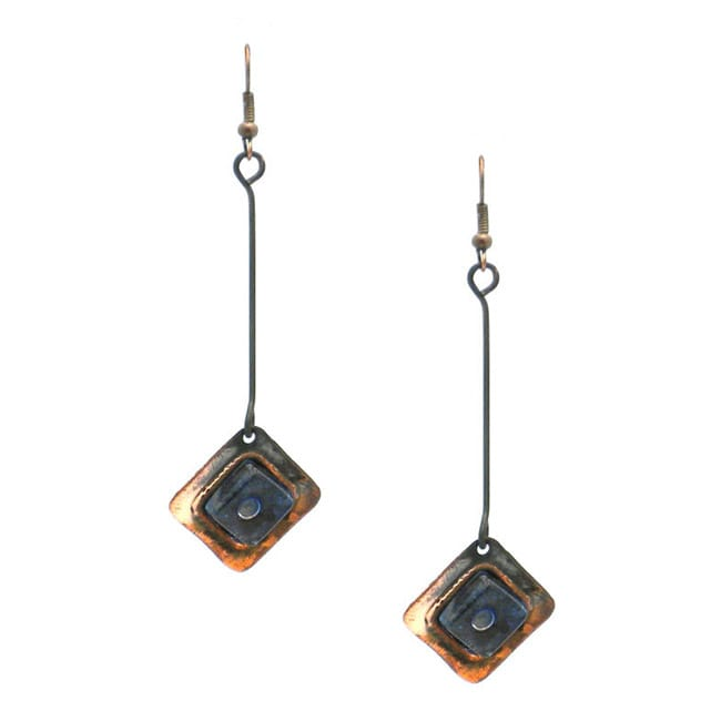 Copper Recycled Blue Glass Square Earrings (Chile)