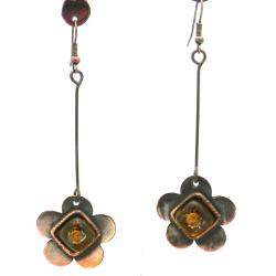 Copper Recycled Red Glass Flower Drop-Style Earrings (Chile)
