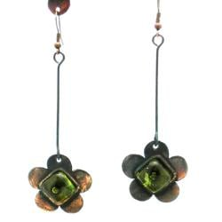 Copper Recycled Green Glass Flower Earrings (Chile)