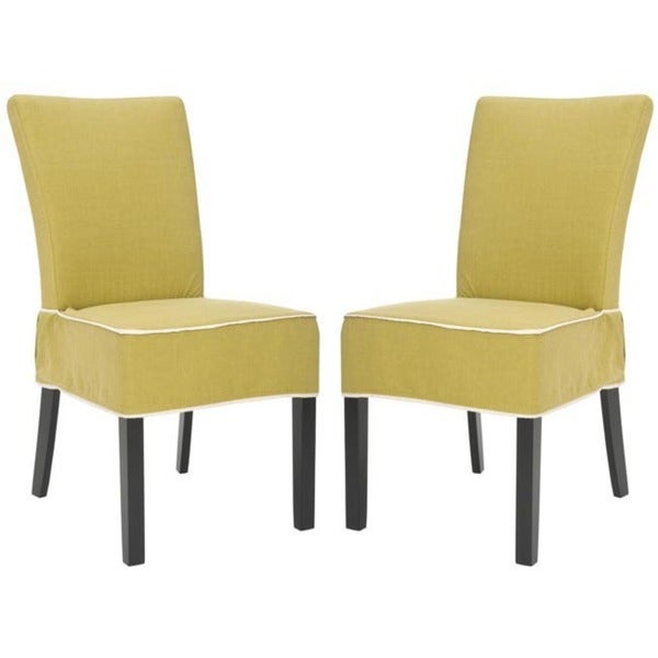 Safavieh Parsons Dining Burton Gold Green Slipcover Side Chairs (Set of 2)