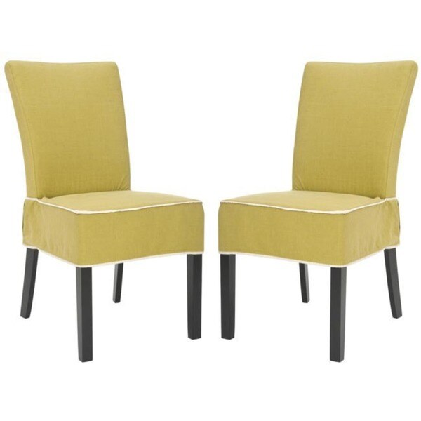 Safavieh Parsons Dining Burton Gold Green Slipcover Dining Chairs (Set of 2)