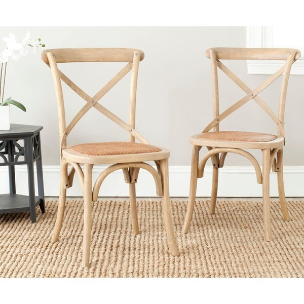 Safavieh Country Classic Dining Bradford x Back Oak Dining Chairs (Set of 2)