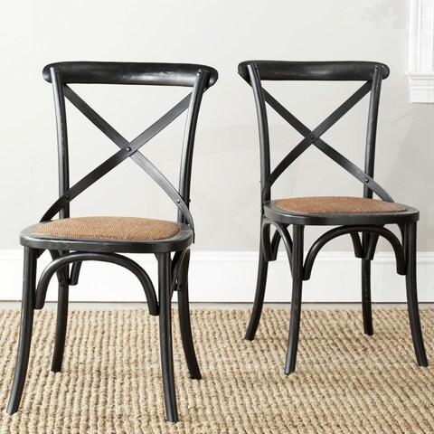 Classical Bradford X Back Antiqued Black Side Chair (Set of 2)