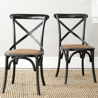 Classical Bradford X Back Antiqued Black Side Chair (Set of 2)