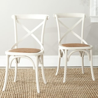 Safavieh Country Classic Dining Bradford x Back Antiqued White Dining Chairs (Set of 2)