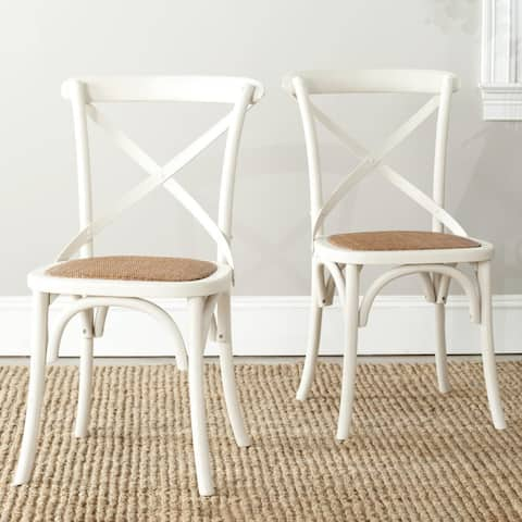 Safavieh Franklin X-Back Antique White Dining Chair (Set of 2)