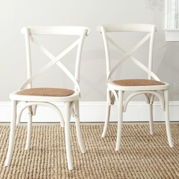 Safavieh Dining Country Bradford x Back Antiqued White Dining Chairs (Set of 2)