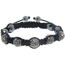 Eternally Haute Hematite and Jet Hematite Crystal Macrame Bracelet