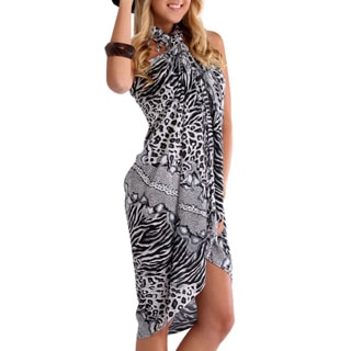1 World Sarongs Women's Black and White Feline 2 Sarong (Indonesia)