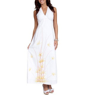 Handmade 1 World Sarongs Women's White Batik Bamboo Halter Maxi Dress (Indonesia)