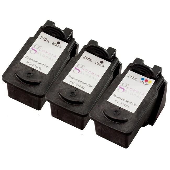 Sophia Global Canon Remanufactured PG-210XL/ CL-211XL 3-piece Black/ Color Ink Cartridges