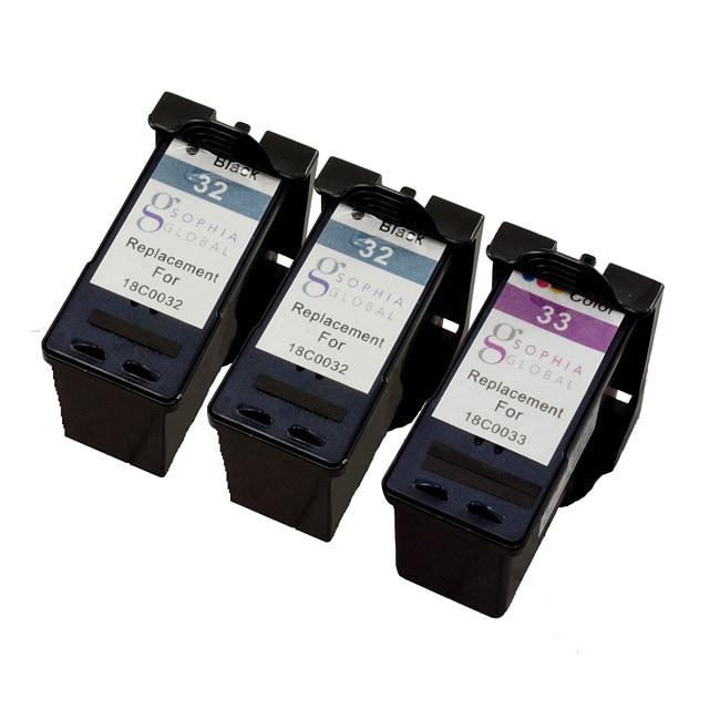 Sophia Global Lexmark Remanufactured 32/ 33 Black/ Color Ink Cartridges (Pack of 3)