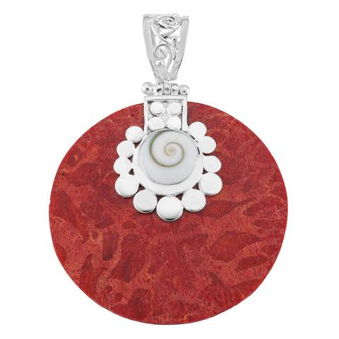 Handmade Silver Plated Red Coral and Shiva Shell Round Pendant (Bali)