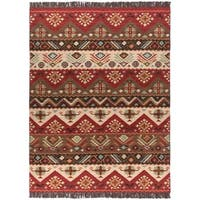 Hand-woven Red/Tan Southwestern Aztec Knox ville Wool Flatweave Area Rug - 8' x 11'