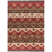 Hand-woven Red/Tan Southwestern Aztec Knox ville Wool Flatweave Area Rug - 8' x 11'